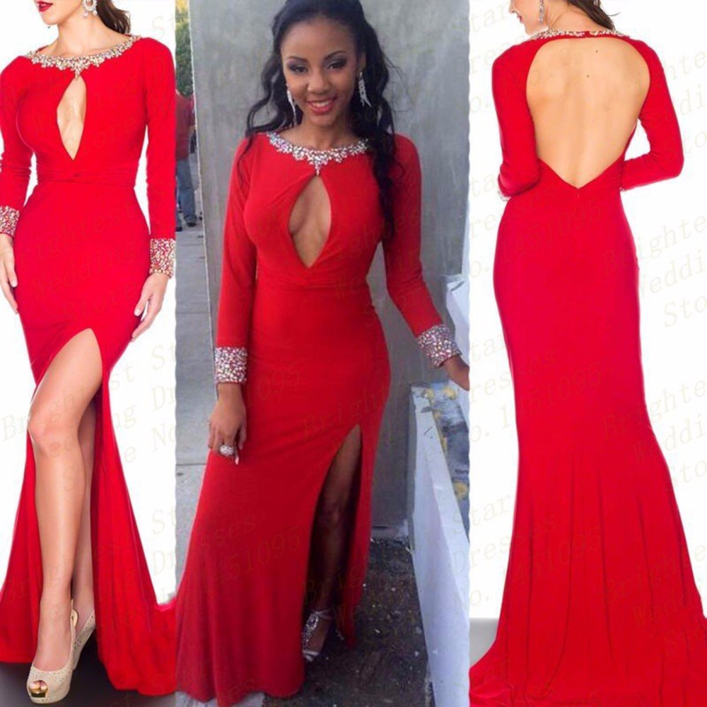 2017 Fashion Sexy Font B Open B Font Font B Front B Font Red Beaded Boat Neck Side