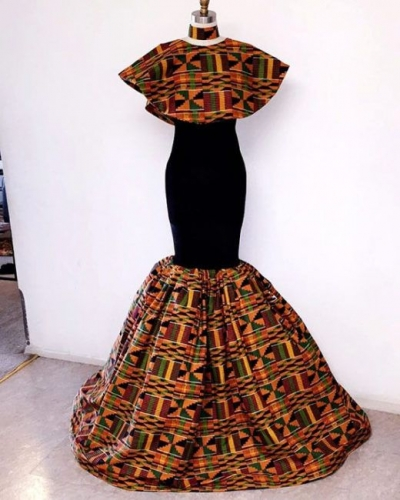 Ladies Latest Styling on African Ankara/Print: V12