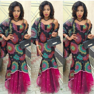 Ladies Latest Styling on African Ankara/Print: V19